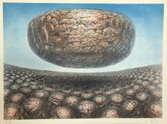 HOVERING STONE Signed Lithograph, Stone Men, Sci-Fi Landscape, Surreal