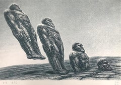 INTO IT Hand Drawn Lithograph, Stone Men, Sci-Fi Landscape, Fantastic Realism