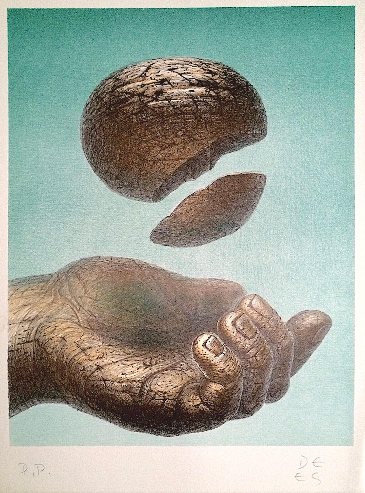 RECEIVING HAND Signed Original Lithograph, Hand, Stone, Healing Art
