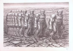 STEPPIN OUT Signed Lithograph, Muscular Stone Men Walking in Line, Sepia Drawing