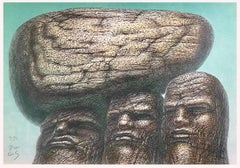 STONE CARRIERS Signed Hand Drawn Lithograph, Portrait Heads Stone Men Philosophy