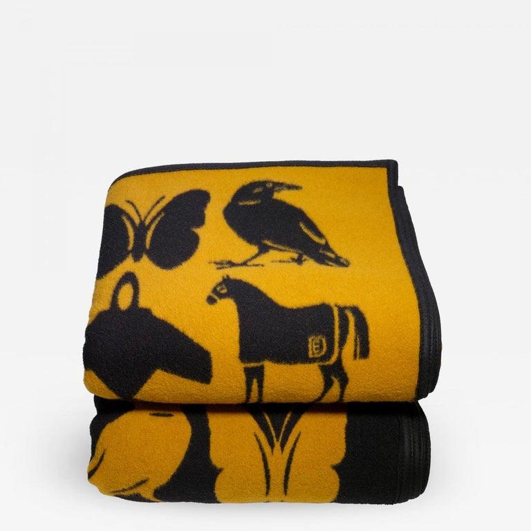 Limited edition, reversible, DE for RE blanket, mfg. Pendleton. Camel and black DE blanket. Collaboration between reGeneration and pop artist, Dylan Egon. 64