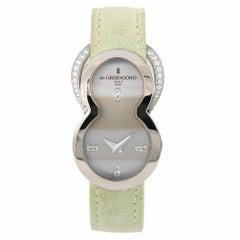 De Geisogono Be Eight S51 Women's Quartz Watch Silver Dial 18 Karat White Gold