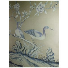 """De Gournay Wallpaper Del 1976 """"Earlham"""" Chinoiserie, Sequence of 3 Panels"""