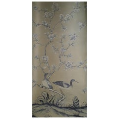 "De Gournay Wallpaper Del 1976 ""Earlham"" Chinoiserie, Sequence of 5 Panels"