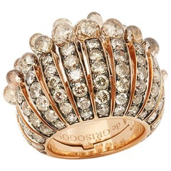 De Grisogono 18 Karat Rose Gold Briolette Cut Brown Diamond Frange Cocktail Ring