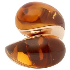 De Grisogono 18 Karat Rose Gold Cabochon Cut Citrine Sensualona Cocktail Ring
