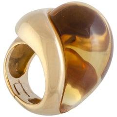 de Grisogono 18 Karat Rose Gold Citrine Cabochon Large Overlapping Ring