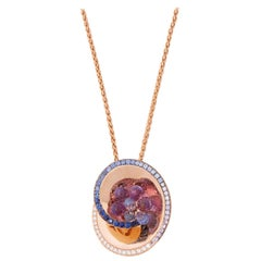 De Grisogono 18 Karat Rose Gold Diamond Sapphire Amethyst Chiocciolina Necklace