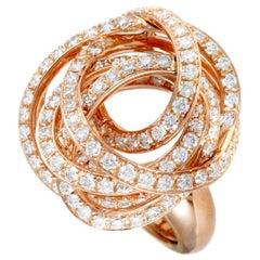 de Grisogono 18 Karat Rose Gold Full Diamond Tangled Swirl Ring