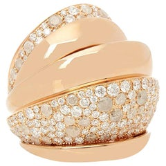 De Grisogono 18 Karat Rose Gold Icy and White Diamond Cocktail Jane Ring