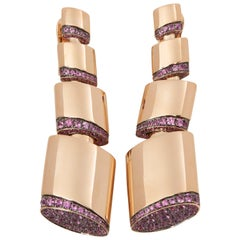 De Grisogono 18 Karat Rose Gold Pink Sapphire Tubetto Drop Earrings