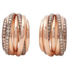 De Grisogono 18 Karat Rose Gold Round Cut Brown Diamond Allegra Earrings