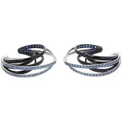De Grisogono 18 Karat White Gold Black & Nano-Ceramic Sapphire Allegra Earrings