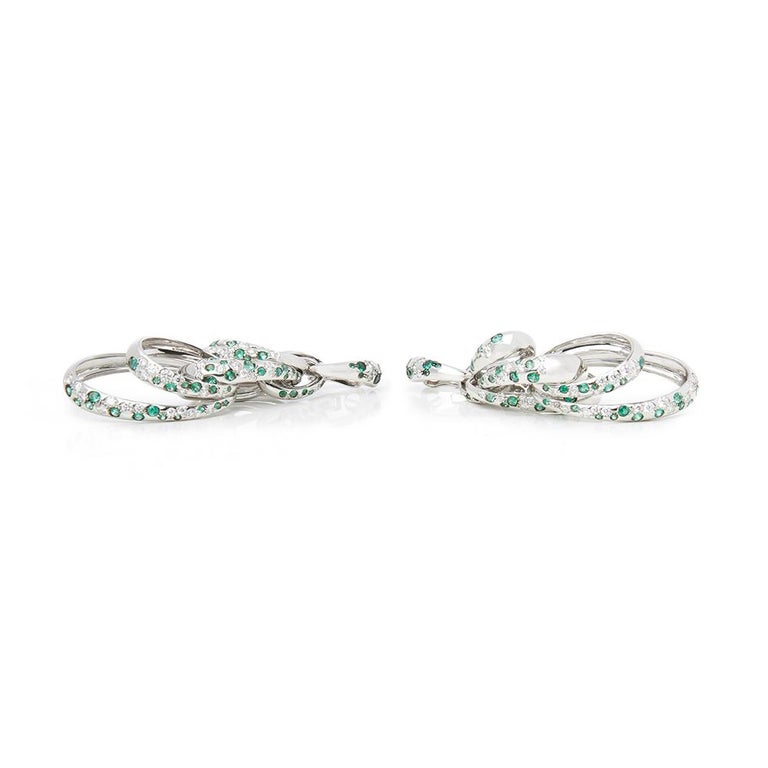Code: COM2001 Brand: De Grisogono Description: 18k White Gold Diamond & Emerald Drop Catene Earrings Accompanied With: Box & Certificate Gender: Ladies Earring Length: 8cm Earring Width: 2.4cm Earring Back: Omega Condition: 10 Material: White