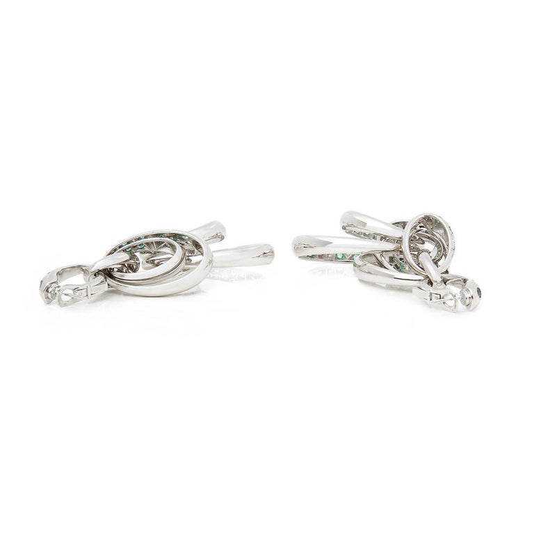 Modern De Grisogono 18 Karat White Gold Diamond and Emerald Drop Catene Earrings For Sale