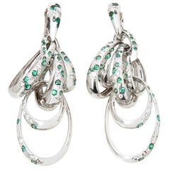 De Grisogono 18 Karat White Gold Diamond and Emerald Drop Catene Earrings
