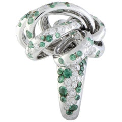 de Grisogono 18 Karat White Gold Diamond and Emerald Swirl Ring