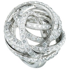 de Grisogono 18 Karat White Gold Full Diamond Tangled Swirl Ring