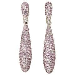 De Grisogono 18 Karat White Gold Pink Sapphire and Diamond Gocce Drop Earrings