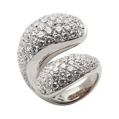 De Grisogono 18 Karat White Gold Round Brilliant Cut Diamond Contrario Ring