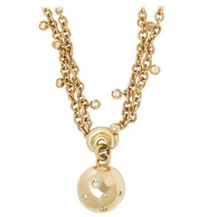 De Grisogono 18 Karat Yellow Gold Round Cut Diamond Boule Pendant Necklace