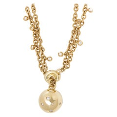 De Grisogono 18 Karat Yellow Gold Round Cut Diamond Boule Pendant Necklace