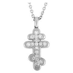 de Grisogono 18 Karat White Gold Diamond Cross Pendant Necklace