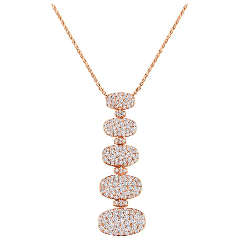 de Grisogono 5 Tier 3.65 Carat Diamond Gold Necklace