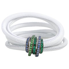de Grisogono Allegra 18 Karat White Gold Sapphire, Tsavorite and Emerald White