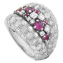 de Grisogono Allegra 18 Karat White Gold Diamond and Ruby Band Ring