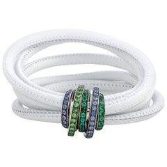 de Grisogono Allegra 18 Karat White Gold Sapphire, Tsavorite and Emerald White