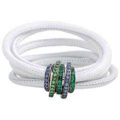 de Grisogono Allegra 18 Karat White Gold Sapphire, Tsavorite, and Emerald White