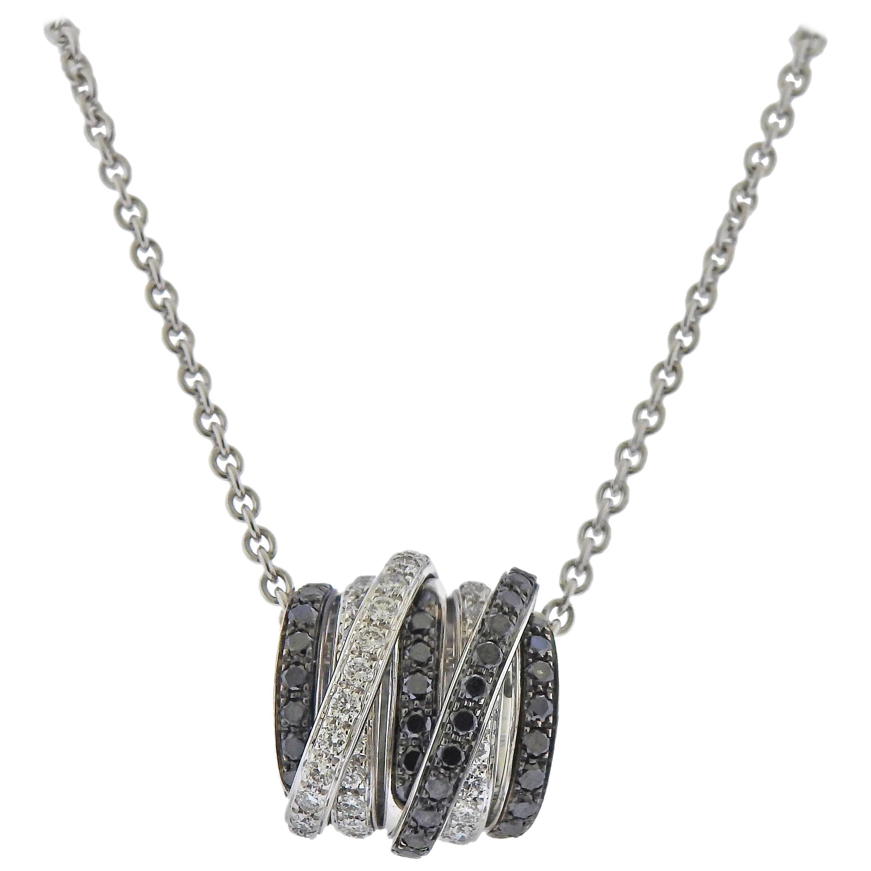 De Grisogono Allegra Black White Diamond Gold Pendant Necklace