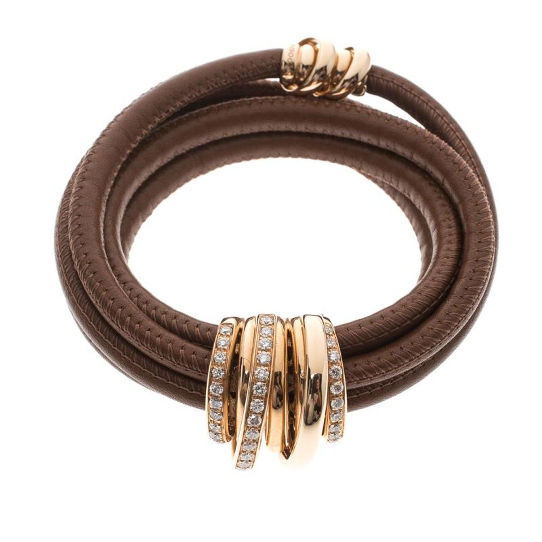 f99688150ad De Grisogono Allegra Diamond and 18k Rose Gold Brown Leather Wrap Bracelet  For Sale at 1stdibs