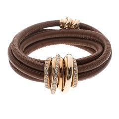 De Grisogono Allegra Diamond & 18k Rose Gold Brown Leather Wrap Bracelet
