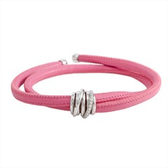 de Grisogono Allegra Diamond and Gold Pink Leather Bracelet