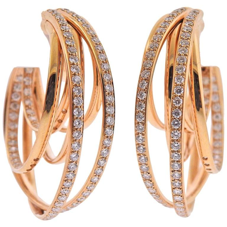 De Grisogono Allegra Diamond Rose Gold Earrings For Sale At 1stdibs