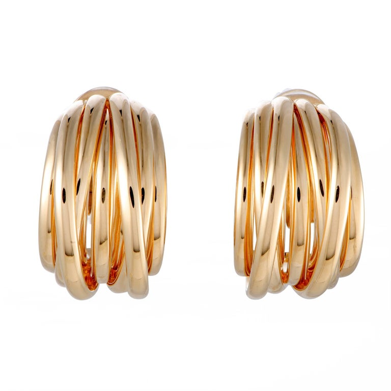 de Grisogono Allegra Gold Clip-On Hoop Earrings
