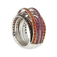 de GRISOGONO 'ALLEGRA' Gold Multi-Gem Diamonds Sapphires Cocktail Ring