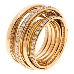De Grisogono Allegra Pave Diamond 18k Rose Gold Cocktail Ring Size 50.5