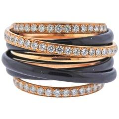 De Grisogono Allegra Rose Gold Black Ceramic Diamond Ring