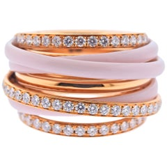 De Grisogono Allegra Rose Gold Ceramic Diamond Ring 53