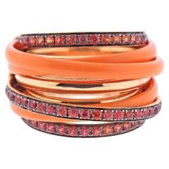 De Grisogono Allegra Rose Gold Ceramic Orange Sapphire Ring 55