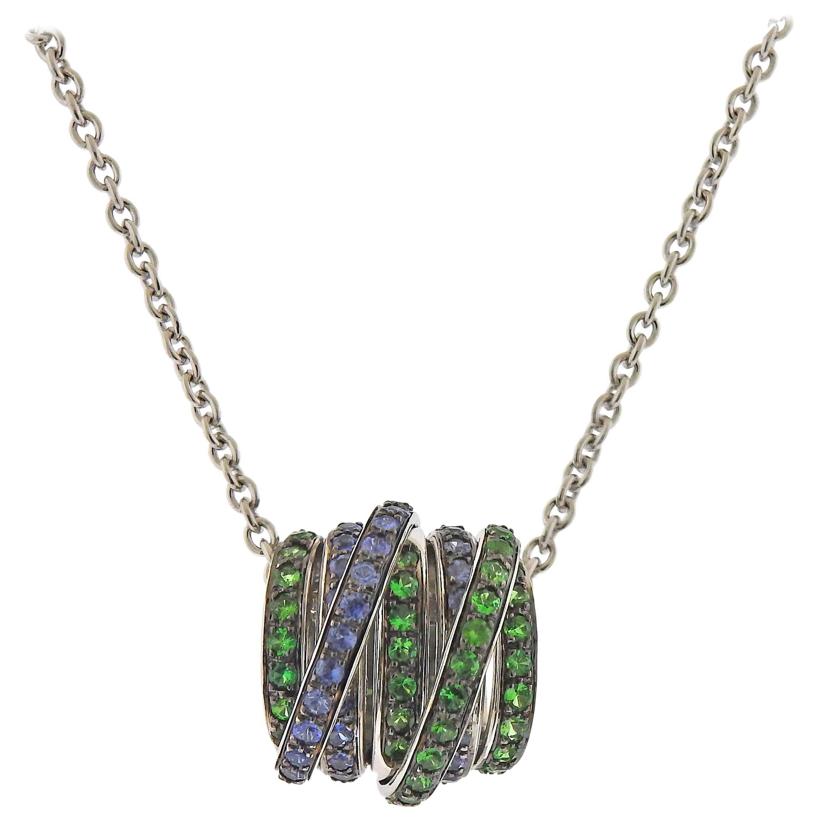 De Grisogono Allegra Tsavorite Sapphire White Gold Pendant Necklace