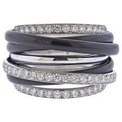 De Grisogono Allegra White Gold Black Ceramic Diamond Ring
