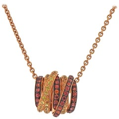 De Grisogono Allegra Yellow Orange Sapphire Gold Pendant Necklace