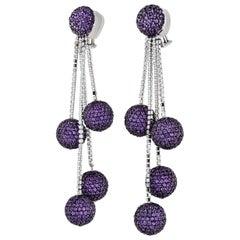 De Grisogono Boule 18 Karat Gold Chandelier Amethysts and Diamonds Earrings