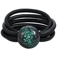 de Grisogono Boule 18 Karat White Gold and Emerald Black Leather Cord Bracelet