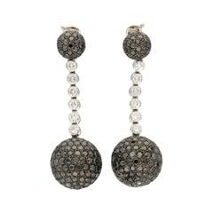 de GRISOGONO Boule Black Diamonds 28.30 Ct Pavé Gold Silver Earrings